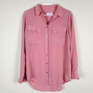 EQUIPMENT 100% Silk Blush Pink Long Sleeve Blouse